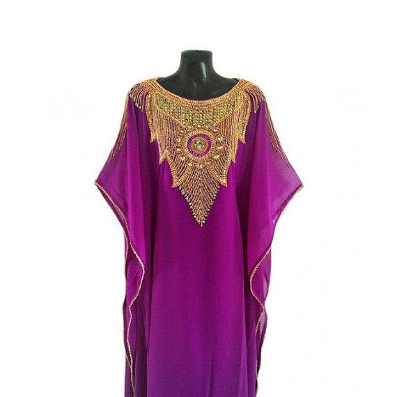 Violet Caftan Gold Crystal Beaded Kaftan Dress Jelabiya by Jywal