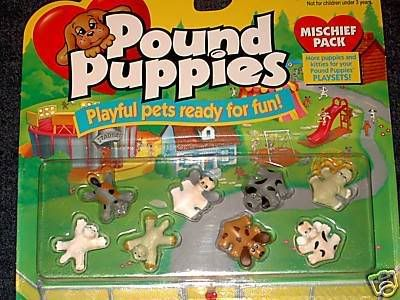 Pound Puppys, i remember they came in big soft toys, and mini ones and then they did some out like this (plastic)