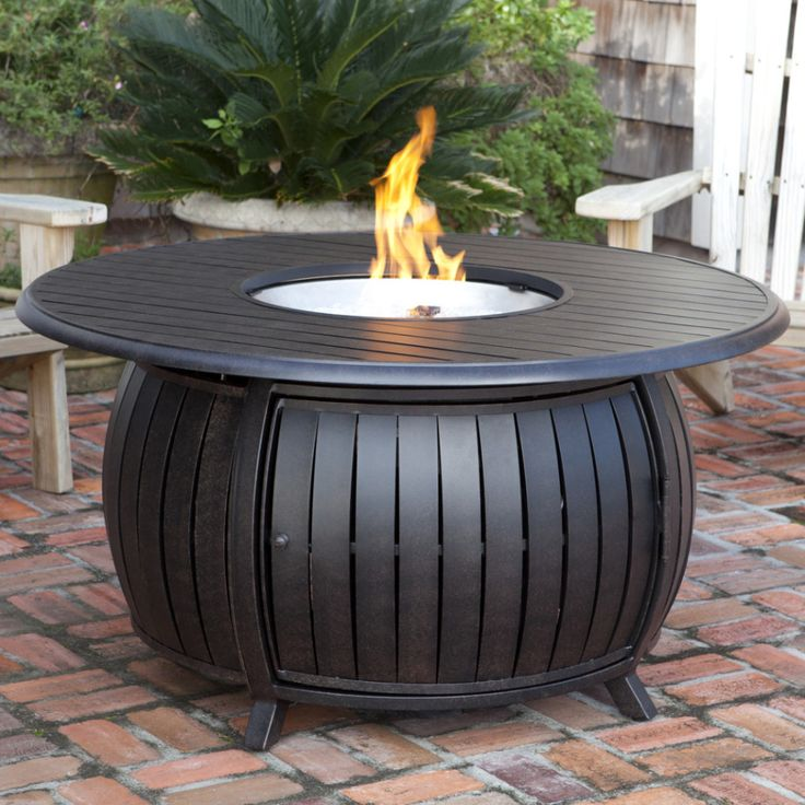 Great Fire Sense Round Propane Fire Pit Patio Table   Extruded Aluminum (#61832)