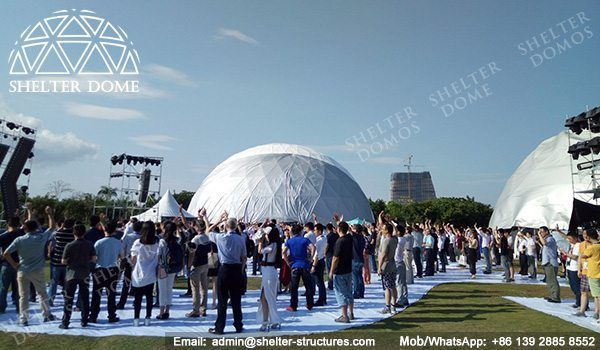 20m Large geodesic structures for outdoor events - Display dome tents for sale - Stable sphere tent for new product launches - Fabric dome tents - Shelter Dome (2)