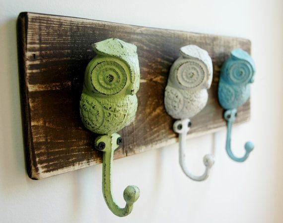 Owl Hooks Wall Decor Summer Spring Home Decor By Splintersandnails 32 50