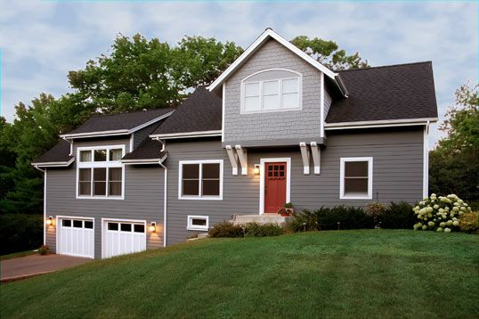 Gray Amp White With A Black Roof And Shake Siding Details Outside Deck And House Pinterest