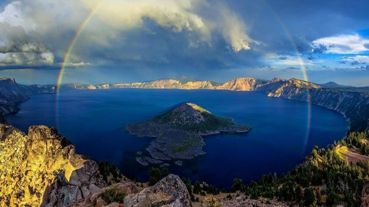 Crater Lake Full Rainbow Download free addictive high quality photos,beautiful images and amazing digital art graphics about Nature / Landscapes.