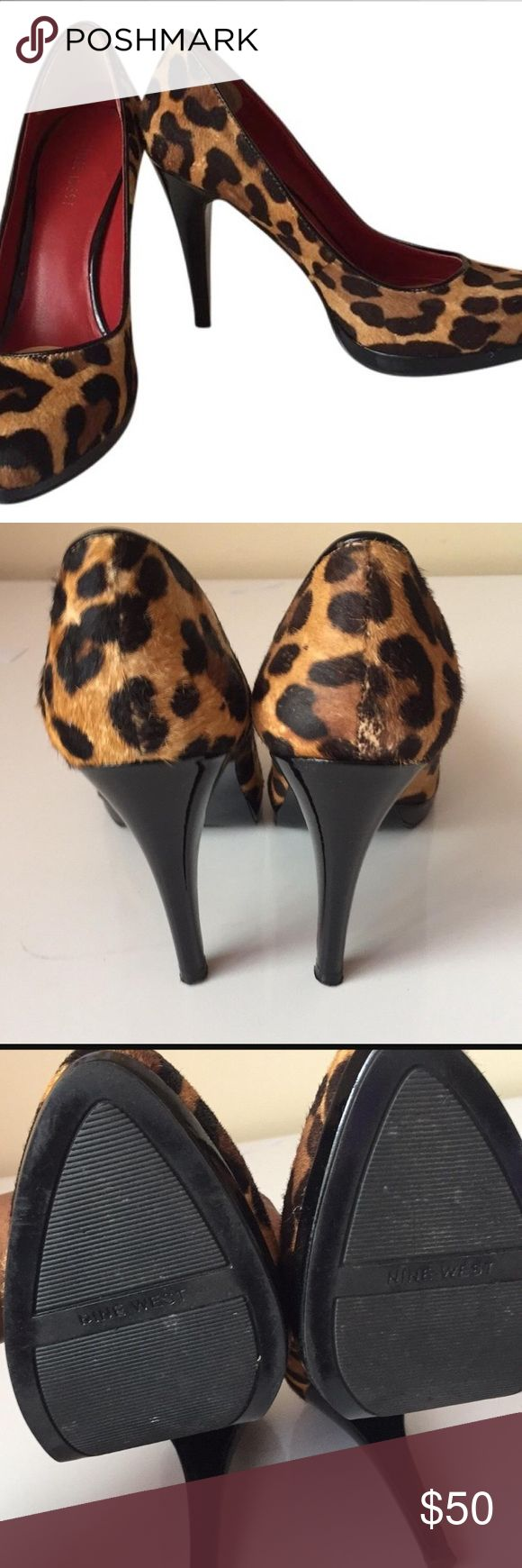 Nine West leopard print pumps size 7M Size 7M, padding was added to inner heel and foot bed. Platform pumps, only worn 3x. Leopard print pony or calf hair. Slight discolor of leopard print but not noticeable. Fabulous shoes! Nine West Shoes Platforms
