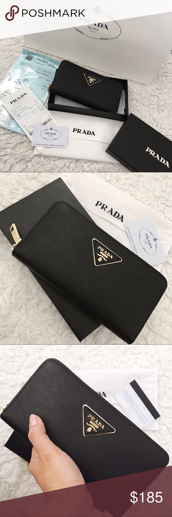 Prada Saffiano Wallet Price reflects A u t h en ti ci t y.  Bought this at HK. Brand new comes with Everything in the picture I will ship it together with Receipt, card, dust bag, box, paper bag.  Pls make an offer using offer button only. Thank you. I'll ship it right away, after payment. received it in 2-3 working days. Prada Bags Wallets