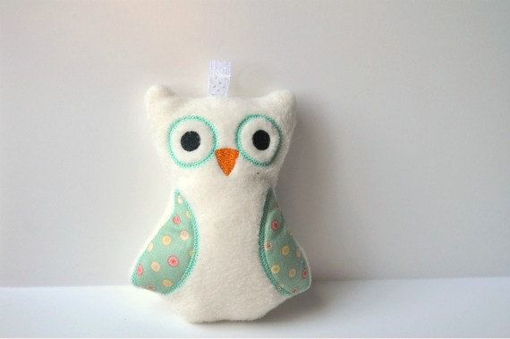 Woodland Owl Rattle Toy  Baby Owl Rattle  White by BirdieAndDot, $12.00