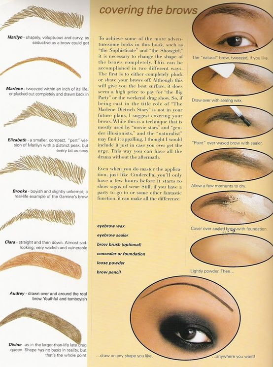 Good tutorial on how to cover up your existing eyebrow and try a different shape by drawing one on.