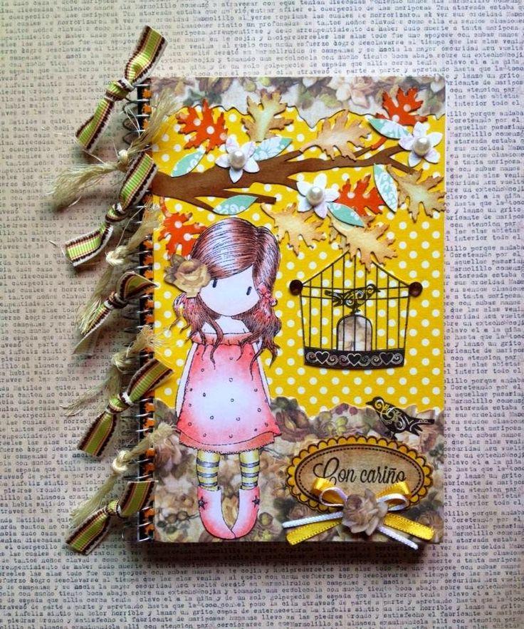 super-scrapbook: LIBRETITA PARA NOTASAltered notebook.  Notebook. Cuaderno decorado. Libro alterado. Book..