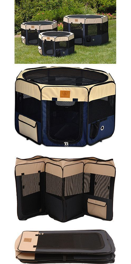Need help with finding the right size? See our Dog Crate Size Breed Chart. Description For indoor or outdoor use, this versatile navy & tan soft dog playpen is packed with features and offers a variet
