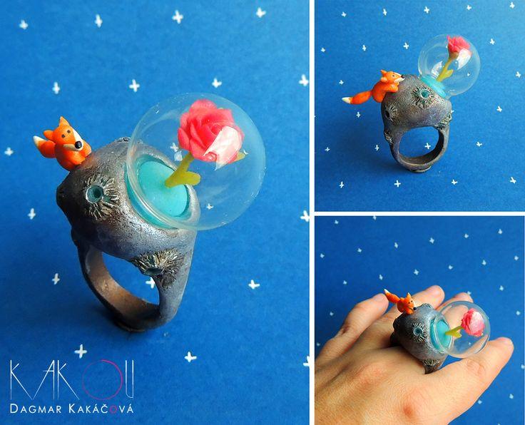 Malý+princ+Originální+prsten+z+dílny+Kakou.Velikost+59-60+(19-20).+Kombinace+sklo/polymer.