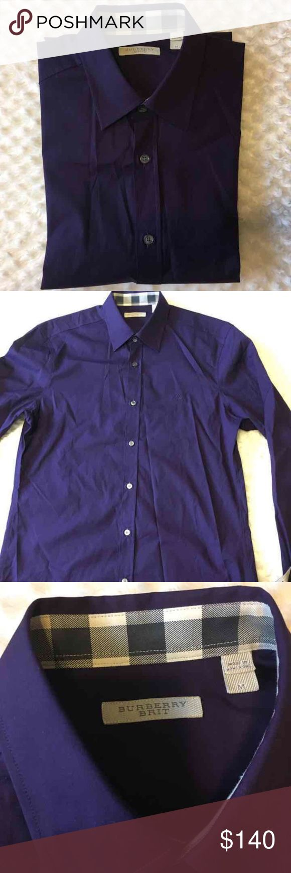New burberry shirt for men M New without tags never worn authentic burberry shirt size medium 100% cotton purple color original price is 265$on sale Burberry Shirts Casual Button Down Shirts