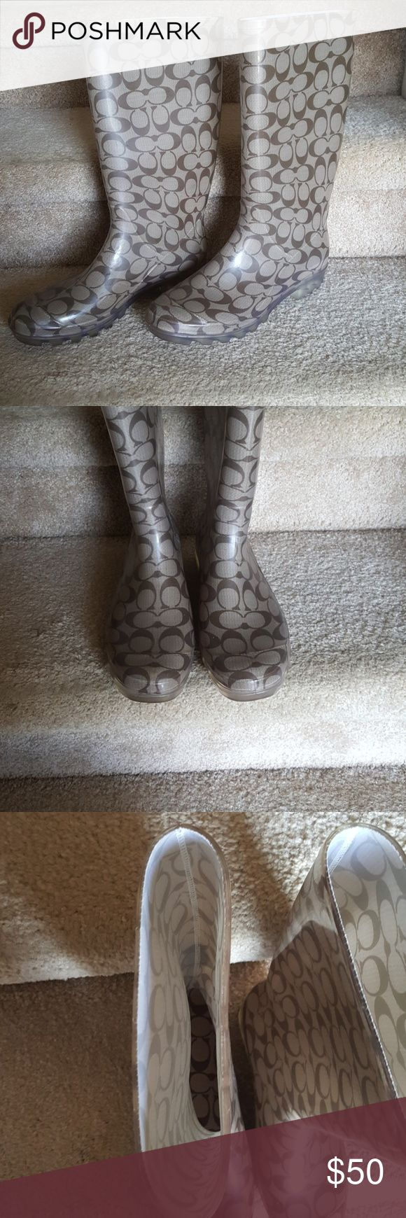 Authentic Coach Rain Boots EUC Worn a handful of times. True to size. No flaws. Super cute. Selling to clear my closet. Price is set to sell! PRICE IS FIRM! Coach Shoes Winter & Rain Boots