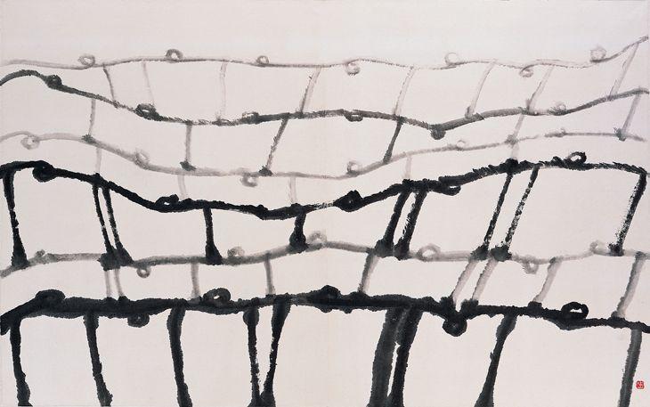 Suh Se-ok (1929 -) Dancers I  1988  Ink on paper 162 × 262 cm