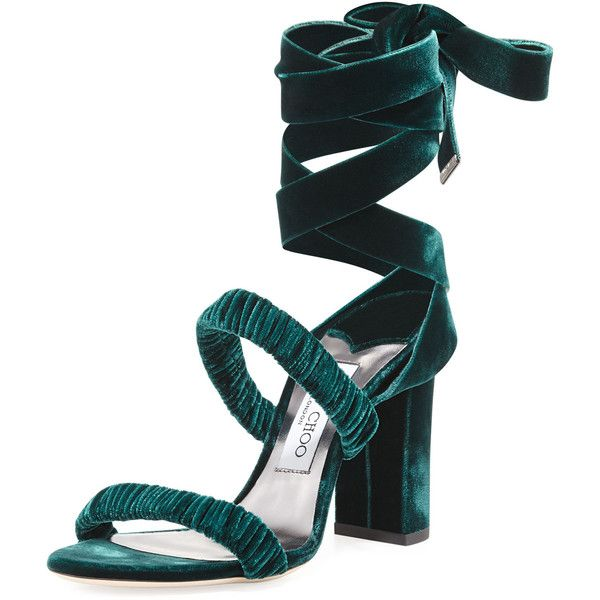Jimmy Choo Marcella Velvet Ankle-Wrap Sandal ($795) ❤ liked on Polyvore featuring shoes, sandals, green, strappy sandals, self tying shoes, ankle strap shoes, jimmy choo sandals and green sandals
