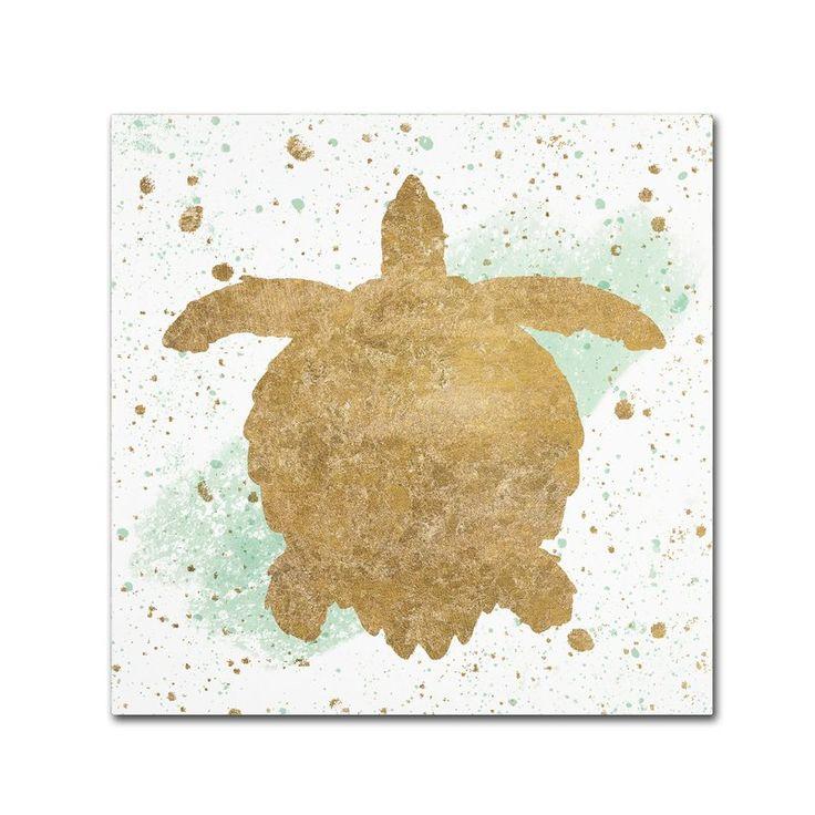 'Silver Sea Life Aqua Turtle' Graphic Art Print on Wrapped Canvas