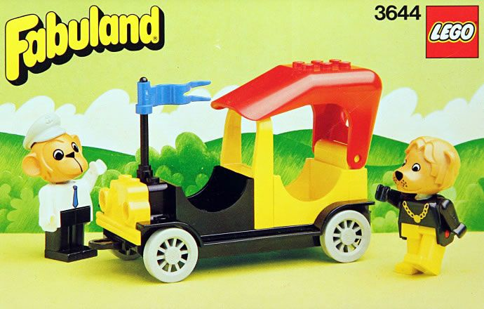 "LEGO set 3644, Mike Monkey and his Taxi, from the ""Fabuland"" line of sets in the 1980s"