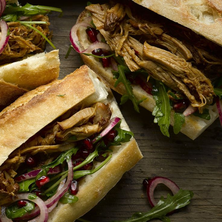Pulled pork sandwich with pomegranate salad