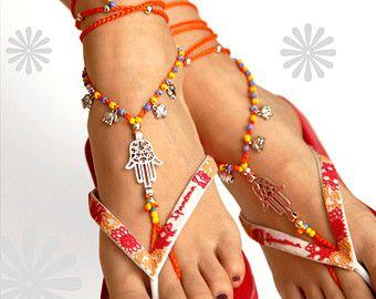 Heart Boho Barefoot Sandal Crochet Hippie Shoes by VascoDesign