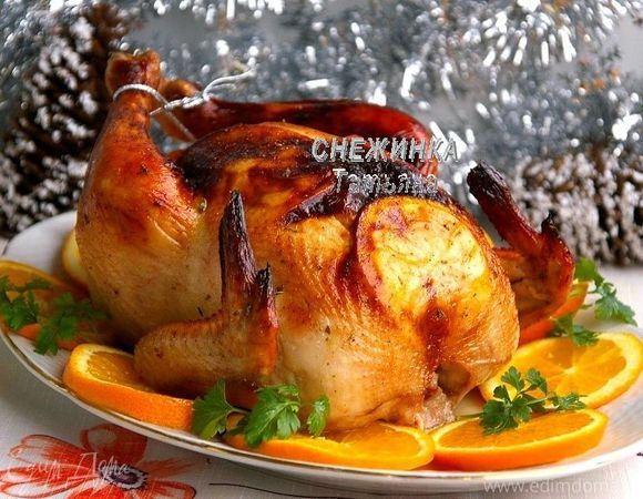 Новогодняя курица, запеченная с апельсинами