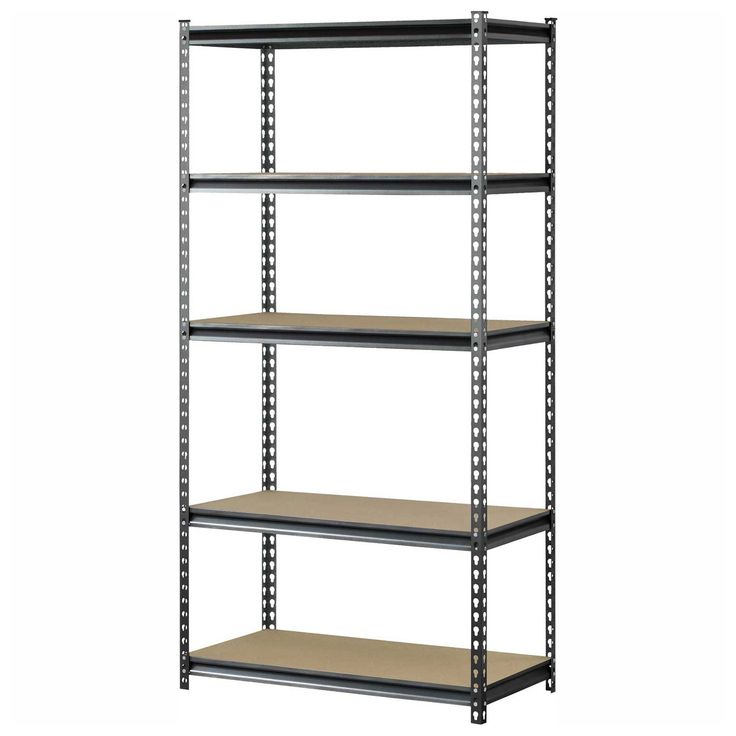 "Shelving | Steel Heavy Duty Shelving | Muscle Rack UR361872PB5P-SV, Z-Beam Boltless Shelving, 36""W x 18""D x 72""H, 5-Shelf w/Wood Deck 