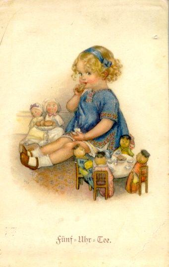 """Five O'Clock Tea"" by Susan B. Pearce --     postcard, 1910?, Austria/France"