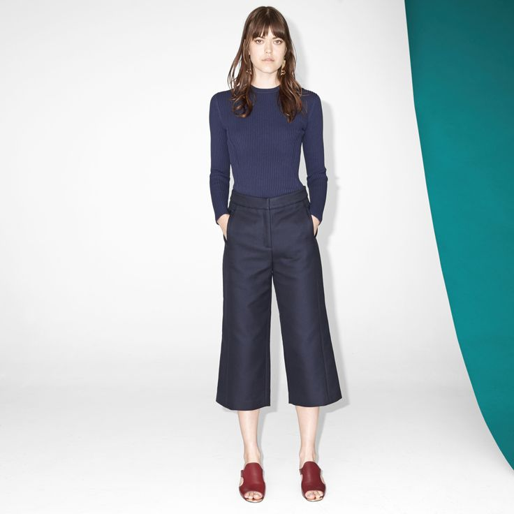FWSS In My Head are cotton twill culottes with a high-waist fit and a clean finish.  #culottes #blue #fwss