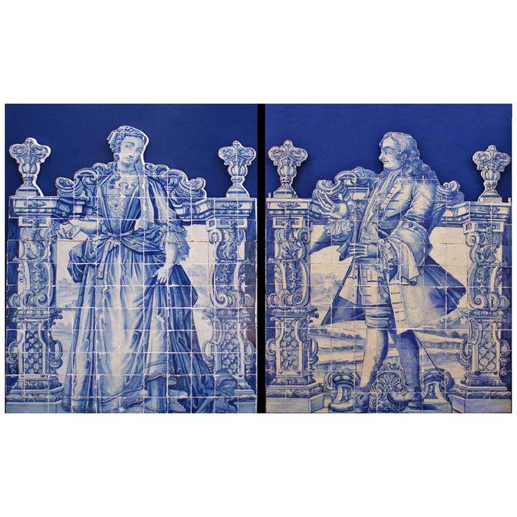 "Rare Pair of 18th Century Portuguese Baroque ""Figuras de Convite"""