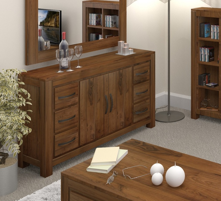 This contemporary Mayan Walnut Six Drawer Sideboard would be a practical solution to dining room storage.