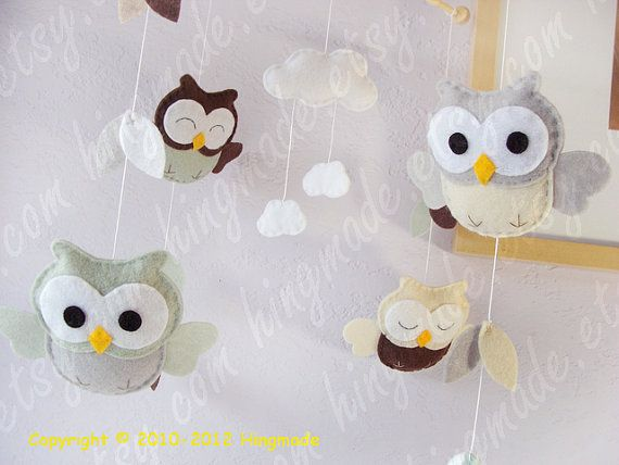 Owl Mobile  Baby Mobile  Felt Mobile  Soft and Sweet by hingmade