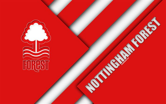 Download wallpapers Nottingham Forest FC, logo, 4k, red abstraction, material design, English football club, Nottingham, England, UK, football, EFL Championship