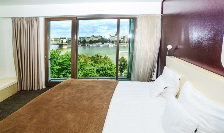 Beautiful Danube view from the deluxe rooms of our design hotel in Budapest.