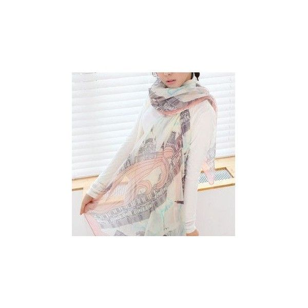 Printed Light Scarf (2.155 KWD) ❤ liked on Polyvore featuring accessories, scarves, cotton scarves and cotton shawl