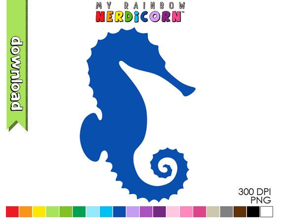 Seahorse clipart digital download of 20 by MyRainbowNerdicorn