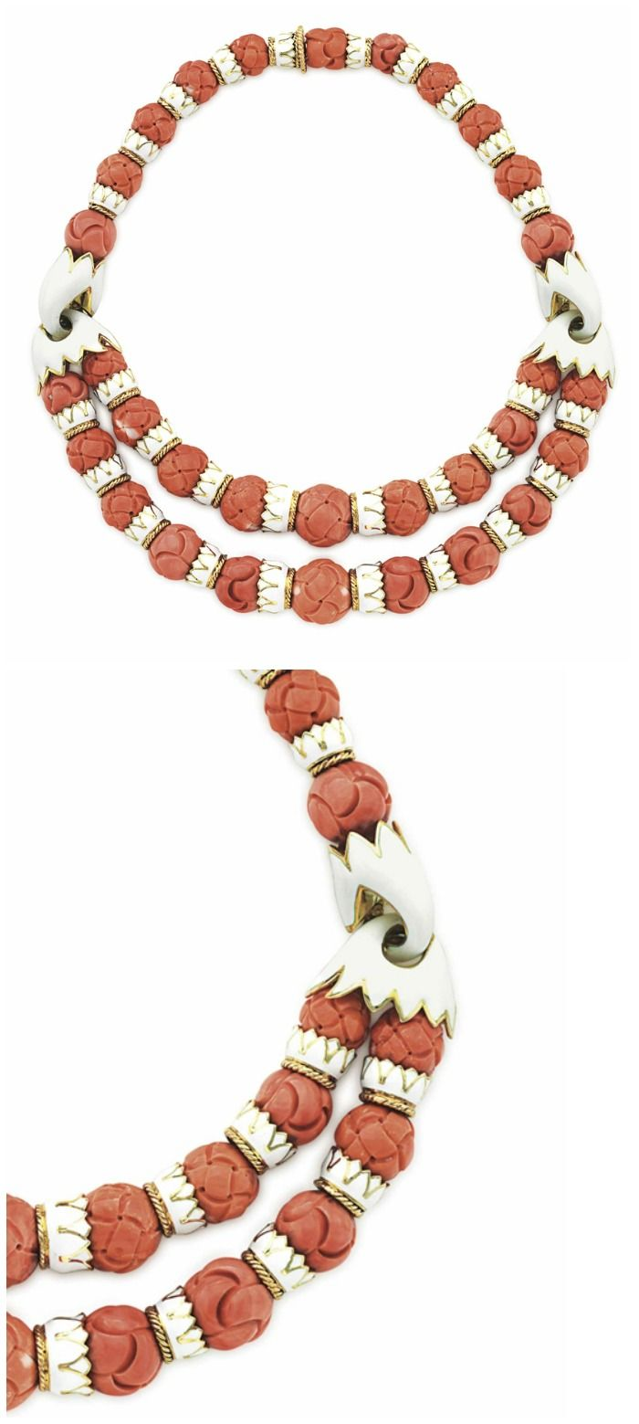 Yafa signed jewels new york ny 1stdibs page 4 - An Enamel And Coral Necklace By David Webb The Front Designed As A Two
