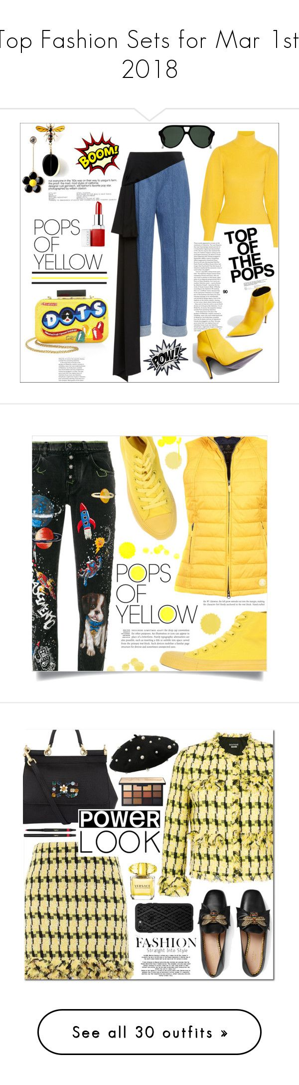 """Top Fashion Sets for Mar 1st, 2018"" by polyvore ❤ liked on Polyvore featuring Alice + Olivia, Thierry Mugler, Pôdevache, Clinique, Gucci, Topshop, yellow, gethappy, polyvoreeditorial and polyvorecontest"