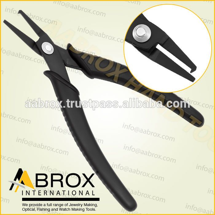 Model Number: AI-PP-106      Stainless Steel Piercing Plier Split Ring Opening Pliers     Lap Joint.     Black Oxide Finish.     14 cm     Ergonomic handle with Spring.     Available Colors: Black.     TealBlue.     Yellow or Red handles.