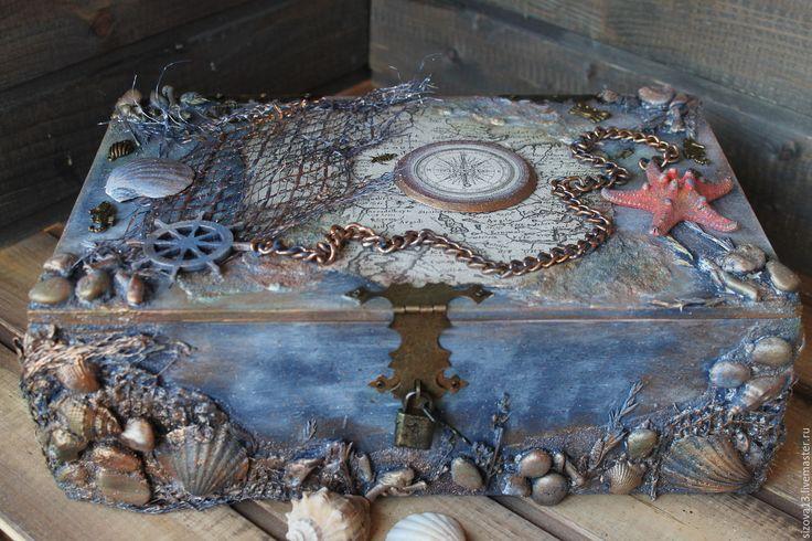 Купить Пиратский сундук( короб для вина) - синий, пиратский сундук, пиратский…
