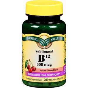 Spring Valley Sublingual B12 Microlozenges, 500mcg, 200 count