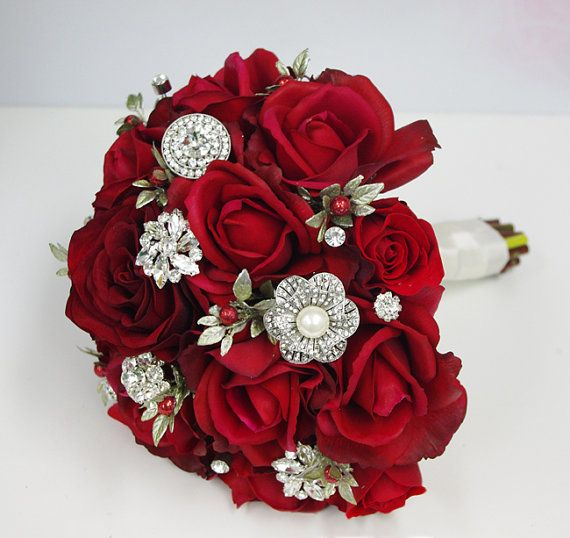 Maybe with white and red flowers! - Christmas Red Silk Brooch Wedding Bouquet - Natural Touch Roses and Brooch Jewel Bride Bouquet - Rhinestones