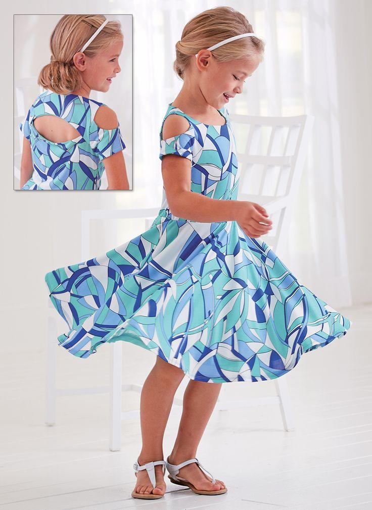 From CWDkids: Open Shoulder Print Dress.