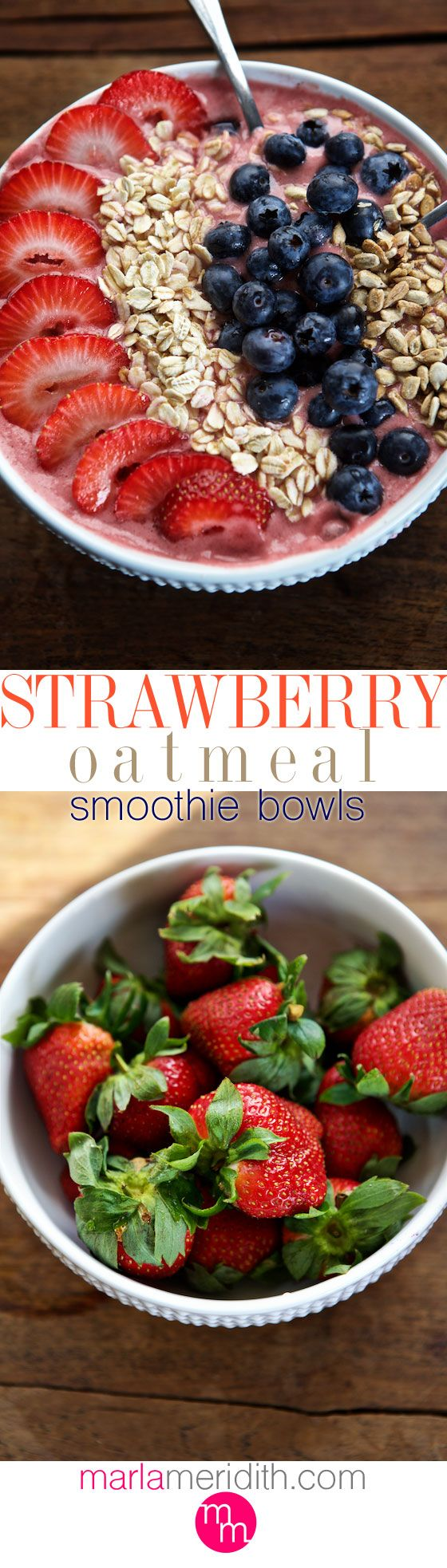 Strawberry Oatmeal Smoothie Bowl | Eat your smoothie with a spoon! MarlaMeridith.com ( @ marlameridith ) #vegan