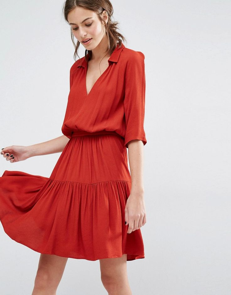 Image 1 of Ba&sh Red Laura Dress with Tiered Skirt at Asos