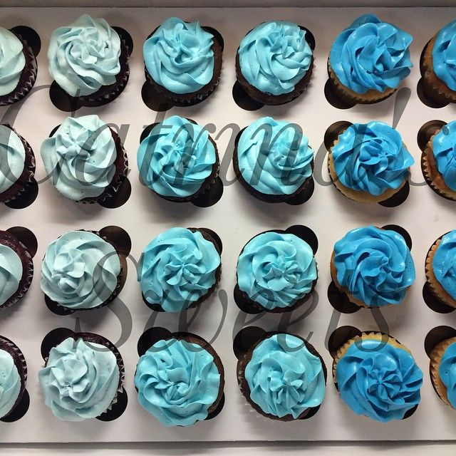 Simple U0026 Classy Baby Shower Cupcake Order! 3 Tones Of Blue For A Much  Awaited