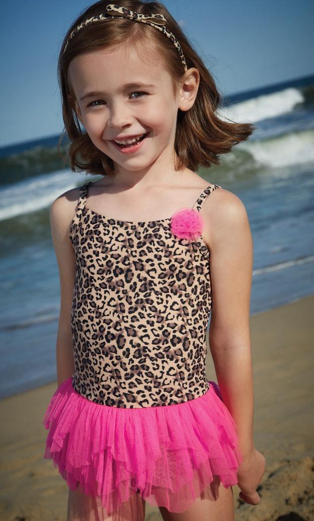 Flapdoodles Kids Swimsuit, Little Girls Leopard Two Piece ...