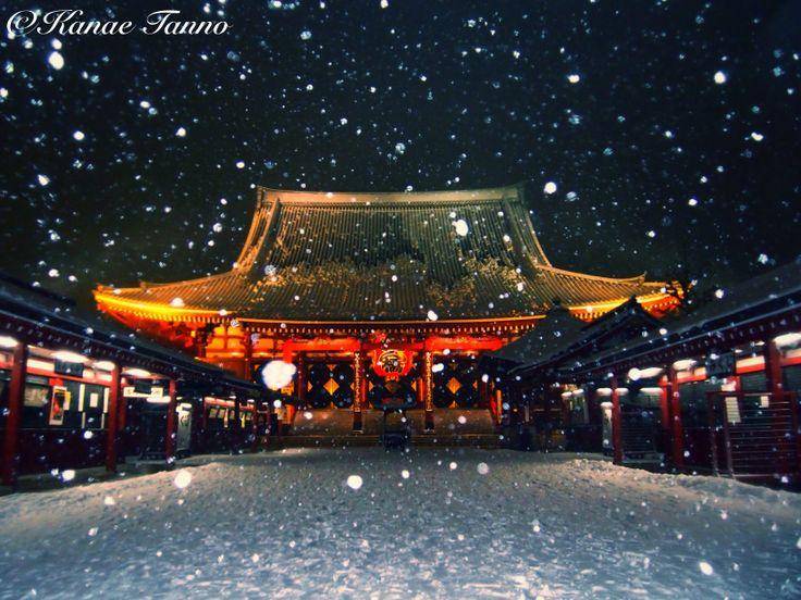 Tokyo Sensoji Temple of snow.