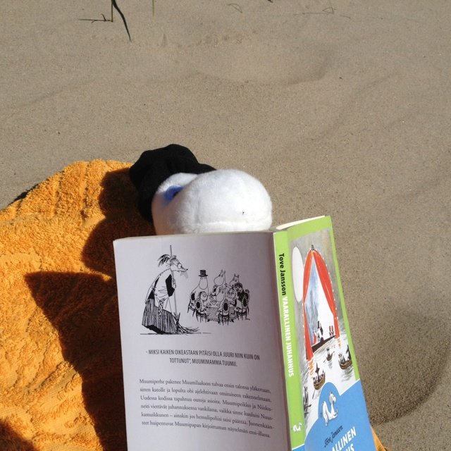 Moominpappa enjoying the sunshine with some quality literature. #MoominsinOulu