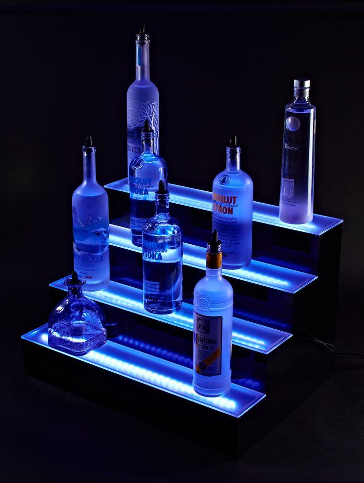 Armana Acrylic 34 Wall Mount LED Lighted Liquor Shelf Bottle Display 2 10