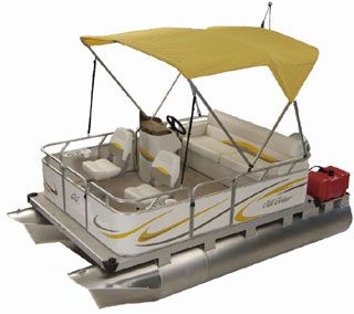 Mini pontoon boat family cruise pontoon boats for Mini pontoon fishing boats
