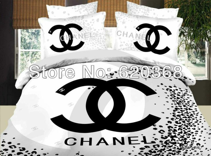 Luxury Textile Black And White Brand Leopard Bed Sets