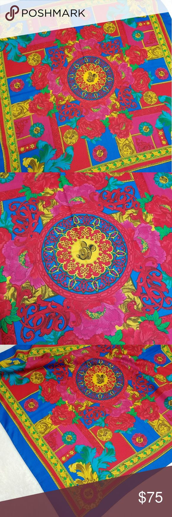 """Vintage Huge Wrap Scarf Mikey Mouse EuroDisney This gorgeous scarf from EuroDisney is a rare vintage find! -Excellent vintage condition- no stains, rips, or tears -Gorgeous colors! -Great collector item to add to your wardrobe Please use measurements for best fit, all measurements are taken laying flat: -34""""x34""""  -100% Polyester -Gold, blue, red (colors' appearance may vary on screen)  Questions? Just ask! Bundle to save!  Offers welcome  Happy Poshing! Disney Accessories Scarves & Wraps"""